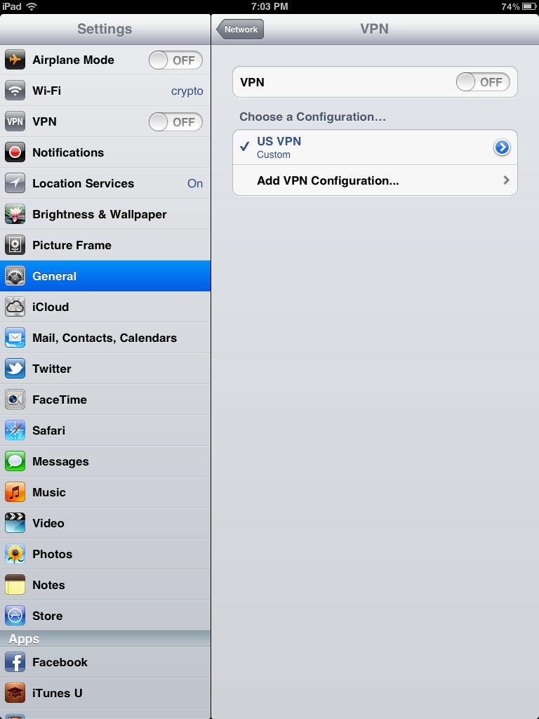 Ipad VPN Connection Screen